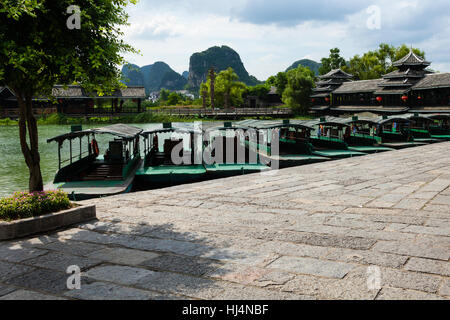 boats on the river Li Guilin China - Stock Photo