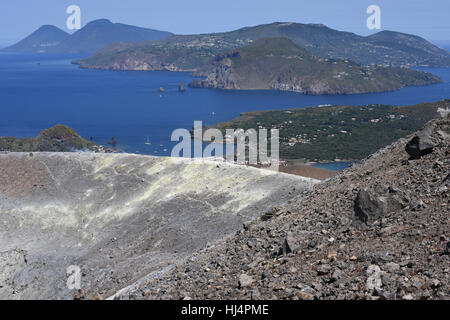 View from the Gran Cratere on Vulcano and two of the other Aeolian Islands, Lipari and Salina with Vulcanello in - Stock Photo