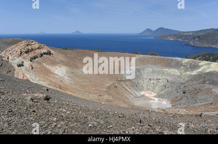 View from the Gran Cratere on Vulcano of several of the other Aeolian Islands, including Lipari, Salina, Filicudi - Stock Photo