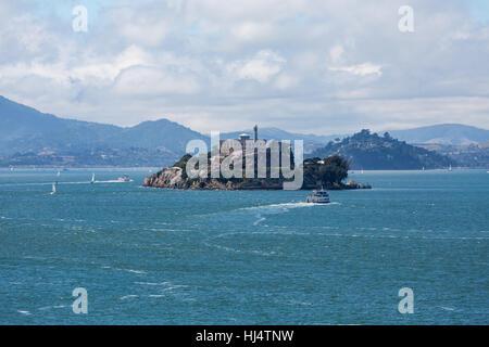 Alcatraz Island in San Francisco Bay - Stock Photo