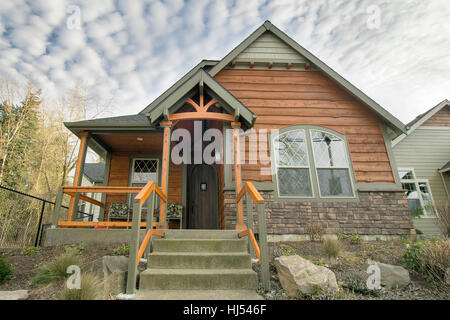 house, building, bungalow, covered, porch, front, chalet, blue, house, - Stock Photo