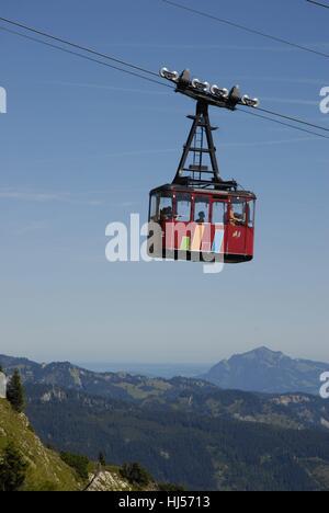 Kabine der Walmendingerhornbahn, HG. Allgäuer Berge mit Grünten - Stock Photo