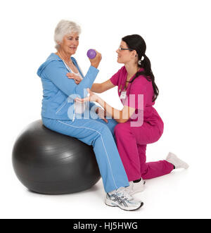 physiotherapy, personal trainer, woman, women, blank, european, caucasian, - Stock Photo