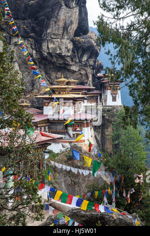 Tiger's Nest Monastery (Taktshang Goemba) in the Paro valley. - Stock Photo