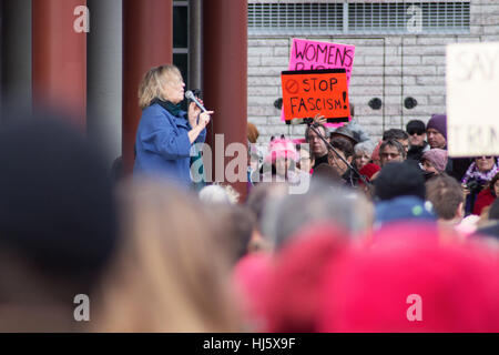 Victoria, BC, Canada. 21st January, 2017.  Elizabeth May addresses demonstrators at Women's March. Credit: Mick - Stock Photo