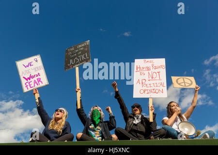 Protesters with signs at Women's March in Downtown Los Angeles, California on January 21st, 2017. - Stock Photo