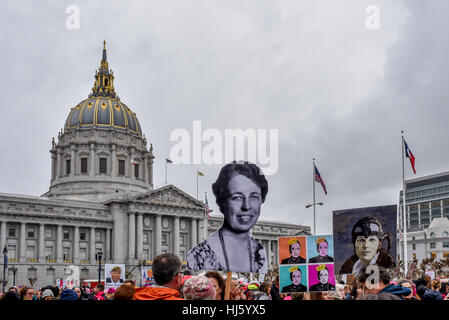 San Francisco, California, USA. 21st January, 2017. San Francisco City Hall during women's march 2017, with signs - Stock Photo