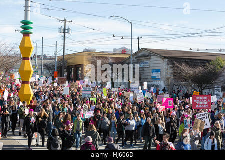 Seattle, United States. 21st Jan, 2017. Seattle, Washington: Supporters march through the International District. - Stock Photo