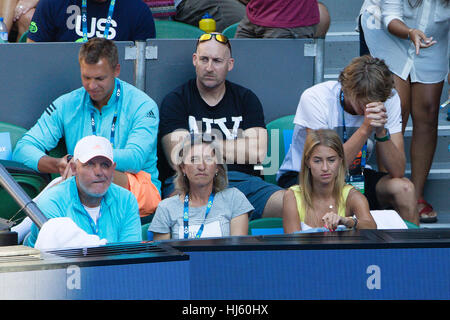 Melbourne, Australia. 22nd Jan, 2017. Alexander Zverev (R) of Germany, his parents and athletic coach Jaz Green - Stock Photo