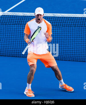 Mischa Zverev of Germany ousts world number one Andy Murray during the 2017 Tennis Australian Open at Melbourne - Stock Photo