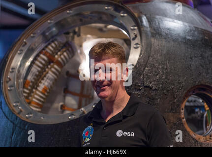 Science Museum, London, UK. 26th January, 2017. Tim Peake's spacecraft - Soyuz TMA-19M  - is now on free public - Stock Photo