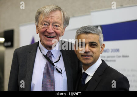 London, UK. 26th Jan, 2017. QEII Conference centre. Lord Dabs and Sadiq Khan, Mayor of London. Over 500 people including - Stock Photo