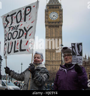 London,UK. 26 January, 2017. Protesters marched through central London to demonstrate against the Governments continued - Stock Photo
