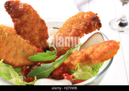 food, aliment, closeup, vegetable, spicy, chicken, rocket, dish, meal, lunch, - Stock Photo