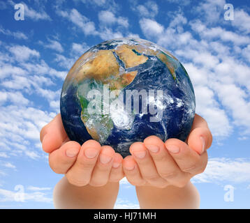 hand, hands, ecology, environmental protection, globe, planet, earth, world, - Stock Photo