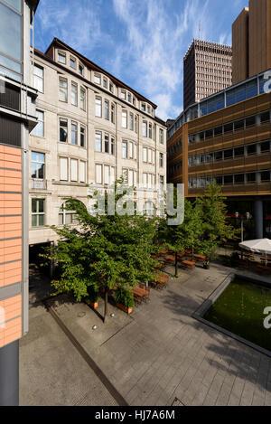 Berlin. Germany. Haus Huth (1912), on Fontaneplatz, Linkstraße, surrounded by high tech modern architecture, Potsdamer - Stock Photo