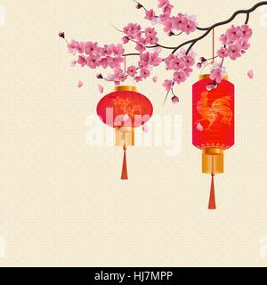 Two red Chinese lanterns on a branch of cherry blossoms with purple flowers. illustration - Stock Photo