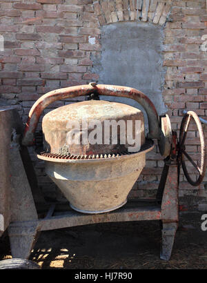 Agricultural machinery, industrial, maybe cement mixer. Closeup view. - Stock Photo