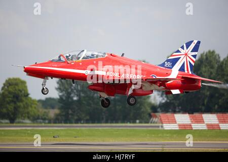 BAE Systems Hawk T1 of the Red Arrows taking off from RAF Fairford - Stock Photo