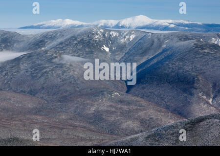 Scenic view from the summit of Mount Lafayette during the winter months in the White Mountains, New Hampshire USA. - Stock Photo