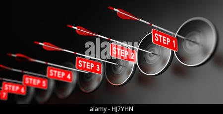 3D illustration of arrows with red signs hitting modern targets over black background. Training steps concept, horizontal - Stock Photo