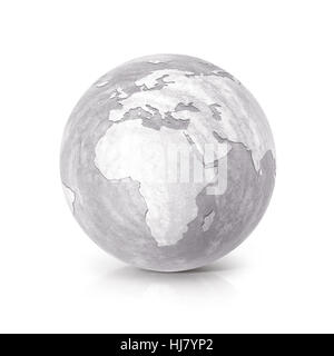 Cement globe 3D illustration europe and africa map on white background - Stock Photo