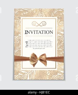 Vintage Wedding Invitation with Bow and Ribbon Template Vector Illutsration - Stock Photo