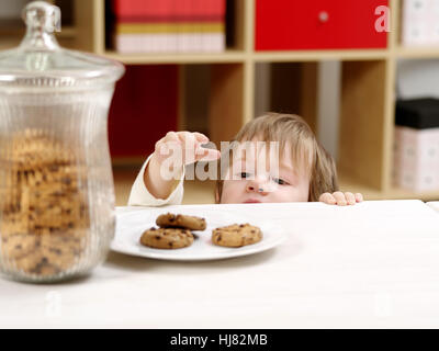 cookie, theft, stealing, boy, lad, male youngster, maddening, pert, coquettish, - Stock Photo
