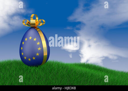 Easter egg with a flag of the European Union in the grass. 3d render. - Stock Photo