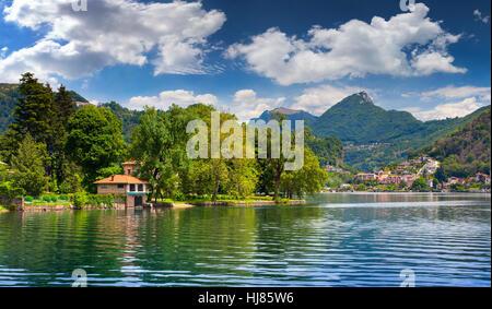 View of Lake Lugano, Switzerland, Alps. - Stock Photo