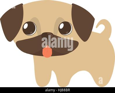cute puppy little tongue out vector illustration eps 10 - Stock Photo