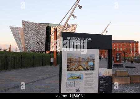 The Titanic Visitors' Centre in the Titanic Quarter Belfast late on an autumn afternoon. - Stock Photo