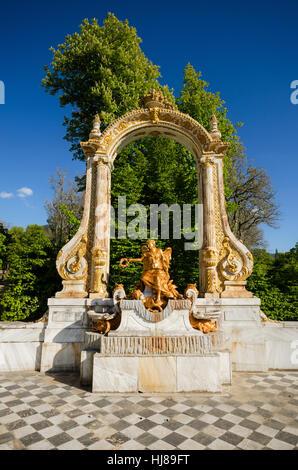 Fountain at palace gardens at La granja de San Ildefonso, Segovia, Spain. - Stock Photo