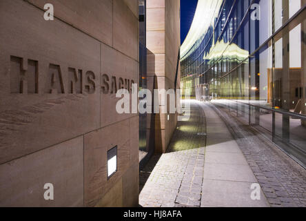Neues Museum with relief lettering, poet Hans Sachs, Lorenzer Altstadt, Nuremberg, Middle Franconia, Franconia, - Stock Photo