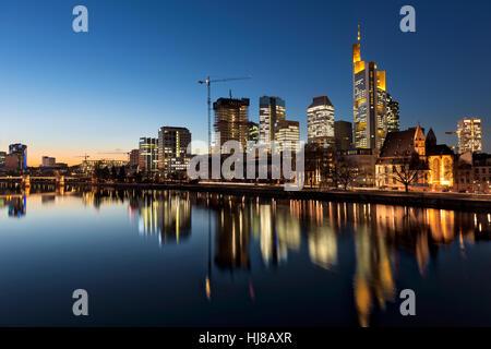 View of skykline from Iron Bridge, Leonhardskirche, Commerzbank Tower, WINX Highrise, blue hour, Frankfurt, Hesse, - Stock Photo