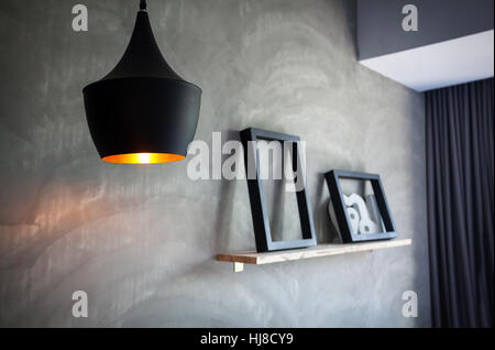 Vintage lantern in the room of loft interior - Stock Photo