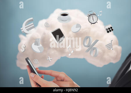 Businesswoman connecting phone to cloud computing for applications on blue background - Stock Photo