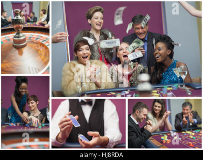 Collage of casino images with roulette and people winning and cheering - Stock Photo
