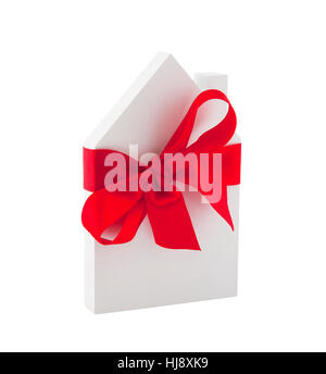 House with red ribbon isolated on white background with clipping path - Stock Photo
