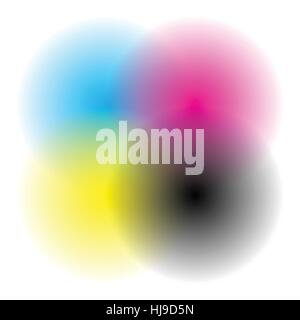 Color wheel / color chart with blended, faded circles for color theory concepts or as generic element - Stock Photo