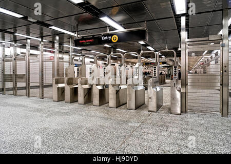 Turnstyle Entrance to the Q Trains at the 72nd Street Station, New Second Avenue Subway Line, Manhattan, NYC - Stock Photo