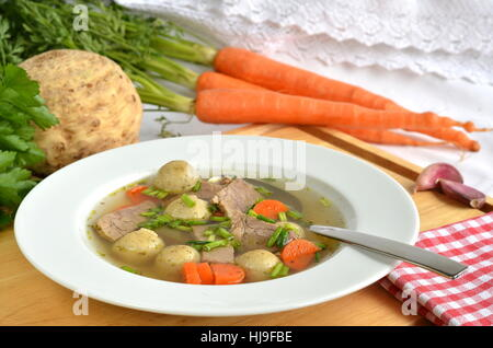 soup plate, soup, broth, food, dish, meal, soup plate, soup, broth, markklchen, - Stock Photo