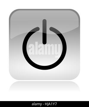 Power on off white, transparent and glossy web interface icon with reflection - Stock Photo