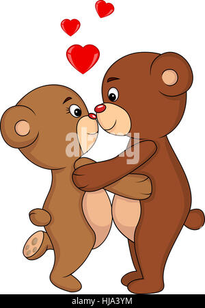 animal, embrace, cartoon, love, in love, fell in love, kissing, couple, pair,