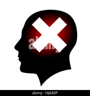 Silhouette of head with closed sign. Illustration on white background for creative design - Stock Photo