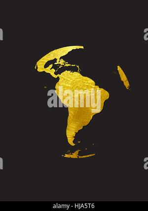 Globe Golden Grunge Icon Vector Illustration - Stock Photo