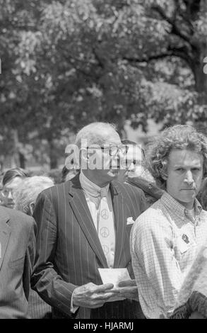 Dr. Benjamin Spock arrives at the anti-war protest rally in Washington, DC, May 9, 1970. - Stock Photo