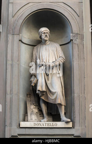 Florence. Italy. Statue Donatello (Donato di Niccolò di Betto Bardi ca. 1386-1466), Italian sculptor, Uffizi Gallery. - Stock Photo