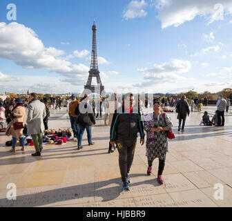 Indian tourists visiting Paris, Eiffel tower, Trocadero, France - Stock Photo