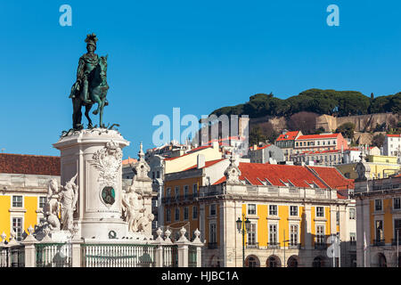Bronze statue of King Jose on the horse as old colorful houses on background under blue sky at Commerce Square in - Stock Photo